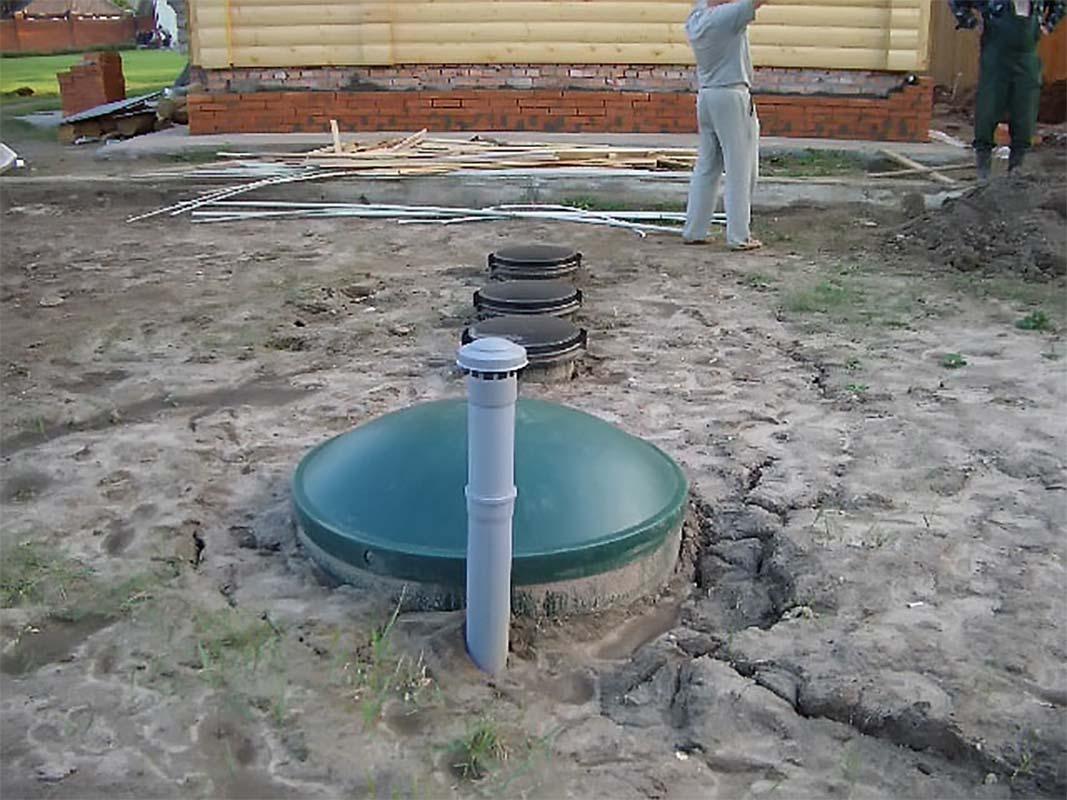 Монтаж доочистки септика высокого уровня грунтовых вод